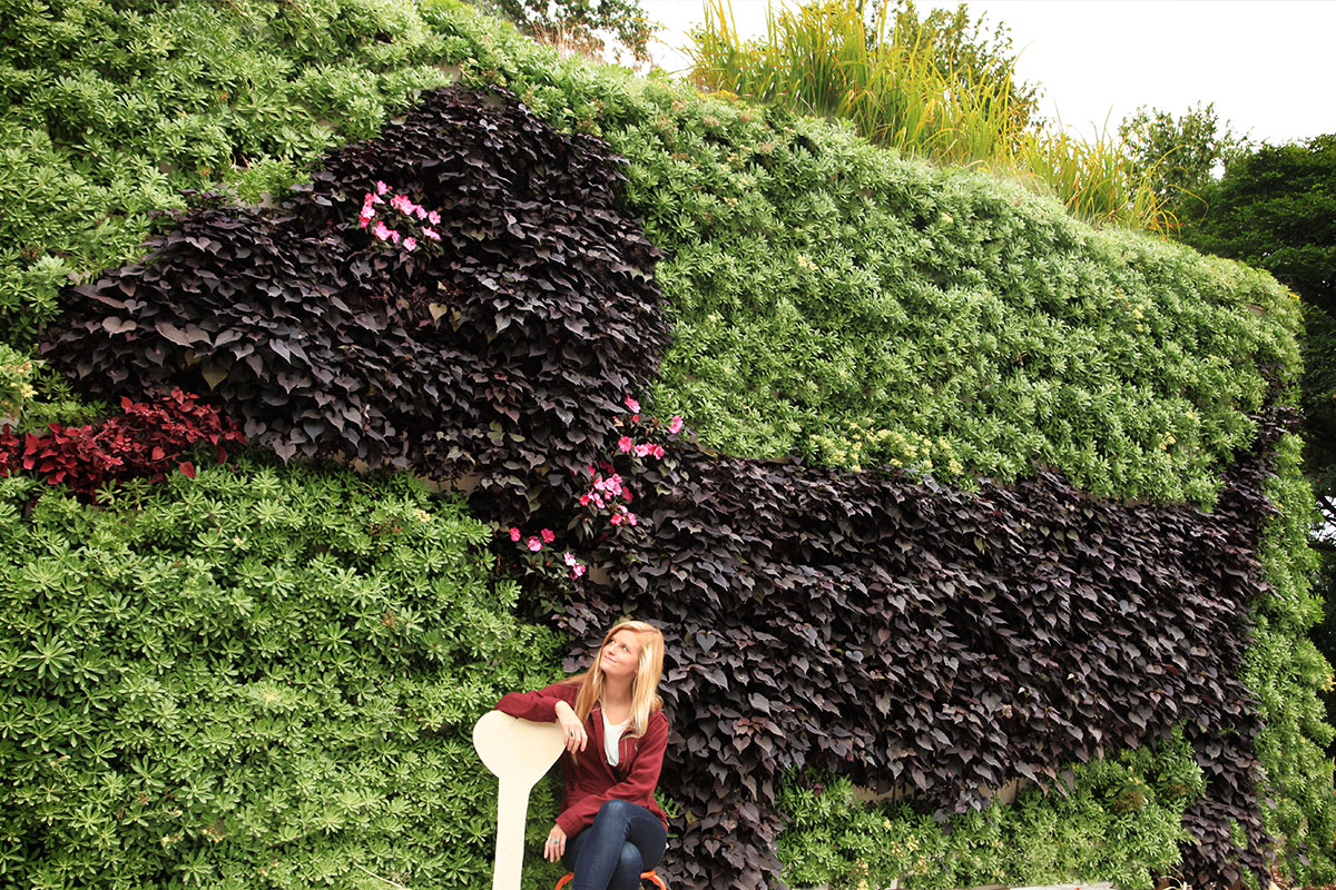 Woman admiring outdoor living wall.