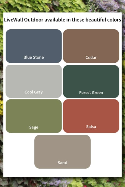LiveWall Outdoor planters are available in eight different designer colors.