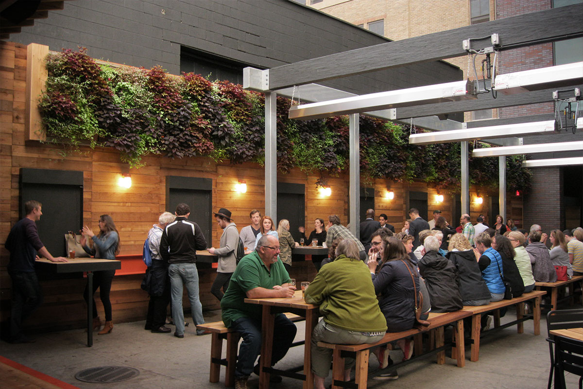 Green walls on this rooftop patio enhance dining experience.