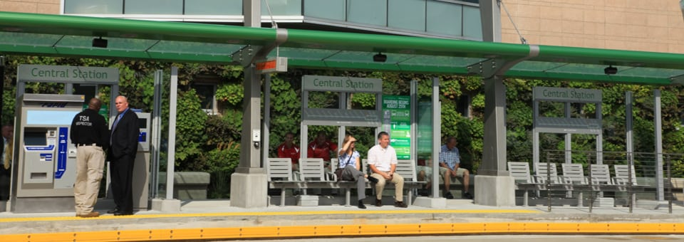 Riders of the New Silver Line Enjoy the Living Wall at The Rapid Central Station.