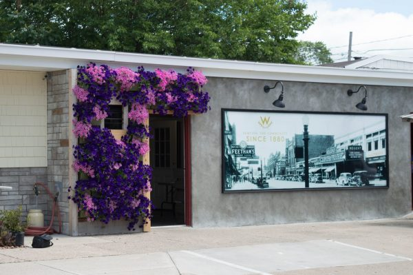 Pink and purple flowers adorn the entrance of Wasserman's.