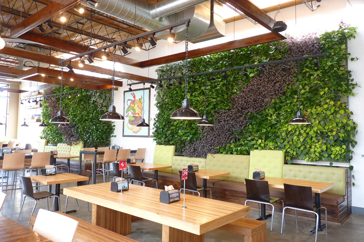A picturesque view of the LiveWall green living wall at Brome Modern Eatery in Dearborn, MI.