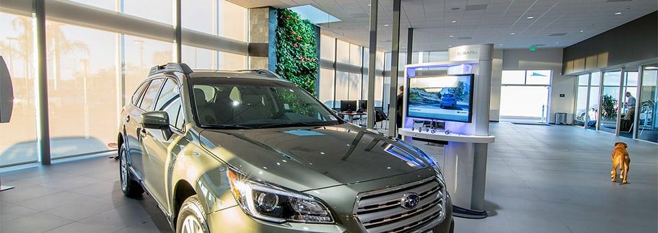 Green wall creates inviting space at Subaru Pacific.