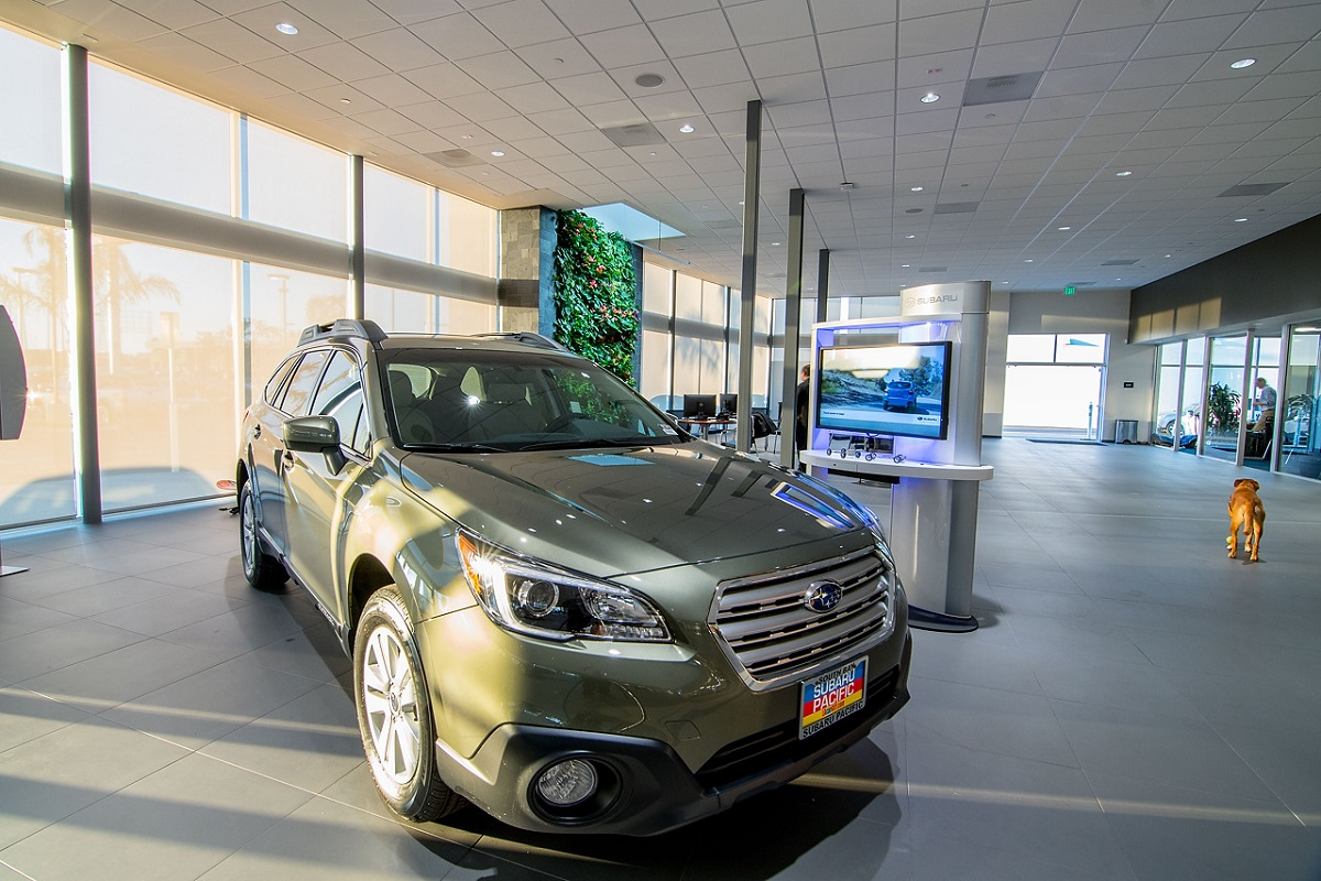Green wall creates inviting space at Subaru Pacific.