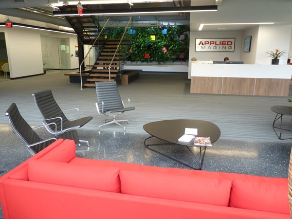 Green Wall at Applied Imaging reduces noise and welcomes visitors to corporate office.