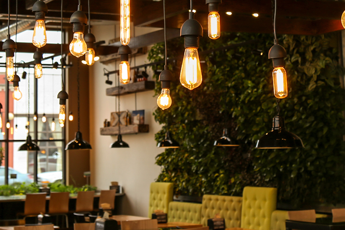 Dearborn Michigan restaurant Brome Modern Eatery features two indoor living walls