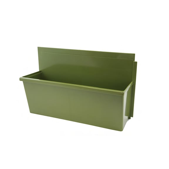 A standard-size, sage-colored LiveWall planter box.