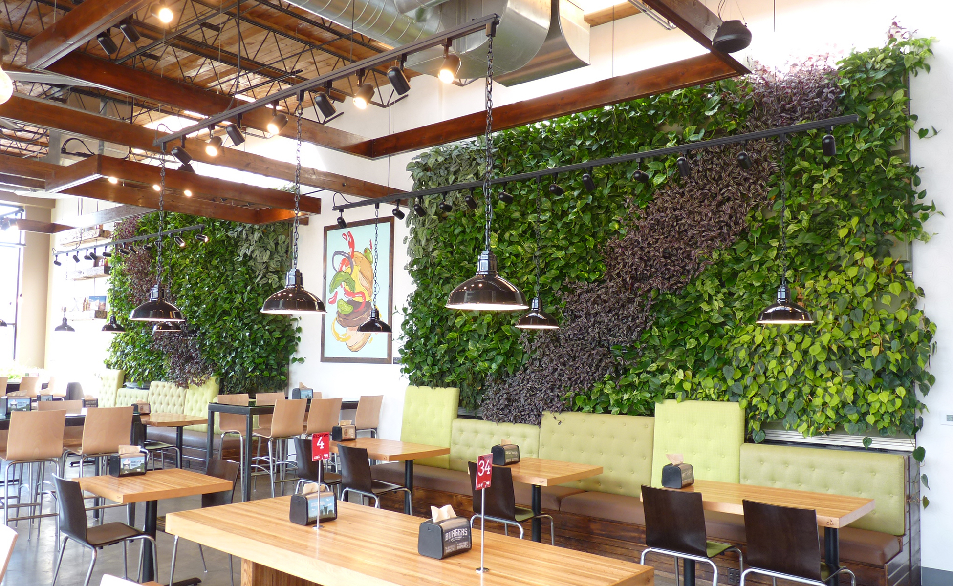 Indoor living wall inside a restaurant.