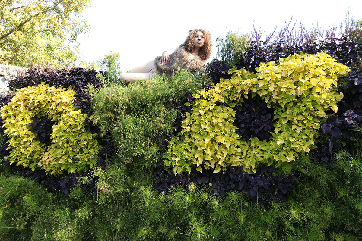Woman in lion costume laying on top of a living wall in the shape of a cat's eyes.