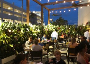 Outdoor dining area surrounded by LiveScreen's planted with tropical plants at Serafina Restaurant in Miami, Florida.
