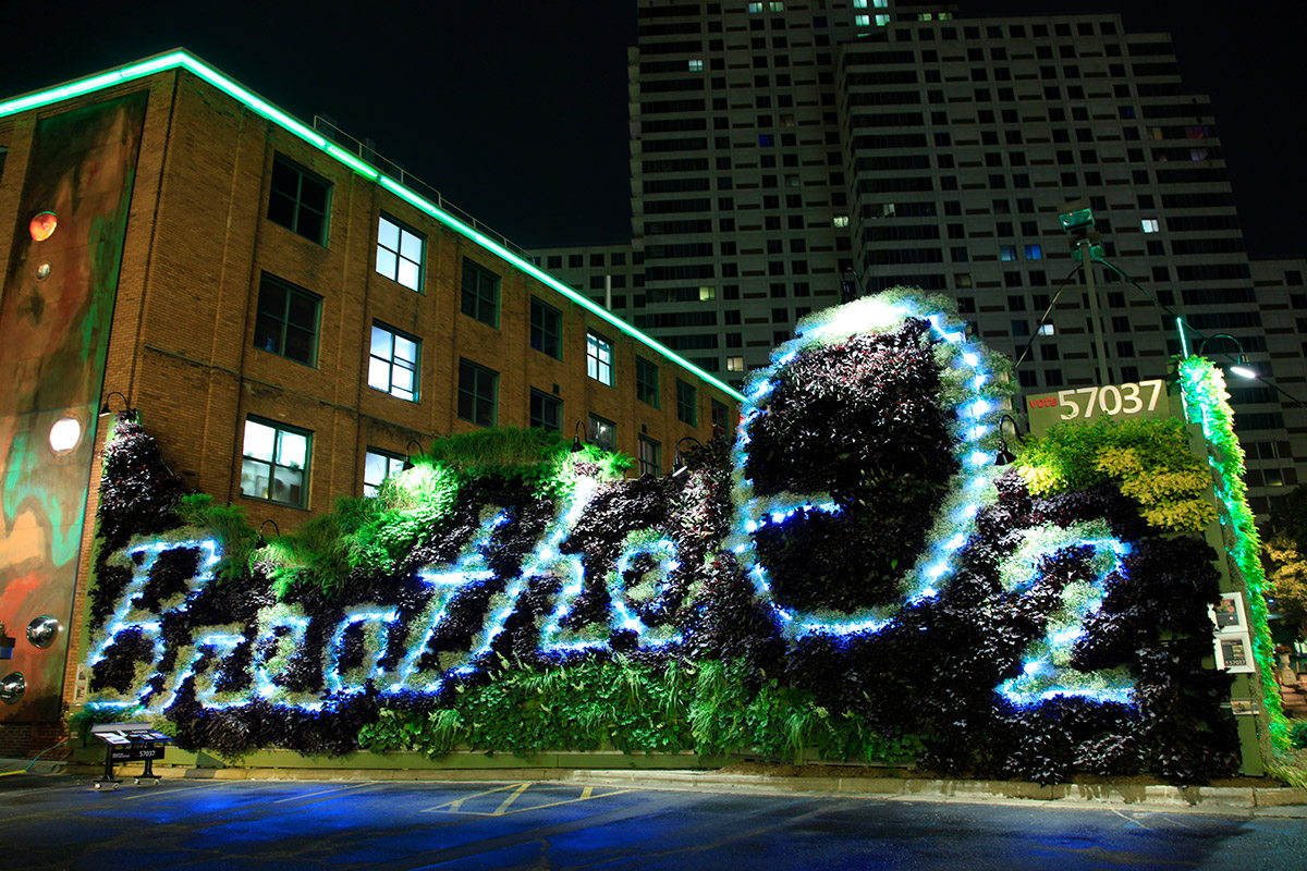 ArtPrize entry of Breathe O2 at night showing the lights.