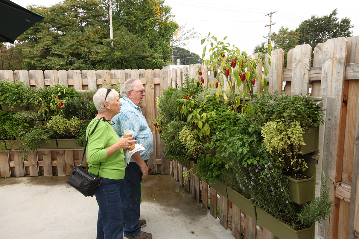 Members of Four Pointes Center for Successful Aging with vegetable and herb vertical garden.
