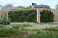 Green walls planted with perennial plants on the Grand Rapids Water Resource Recovery Facility (GRWRRF).