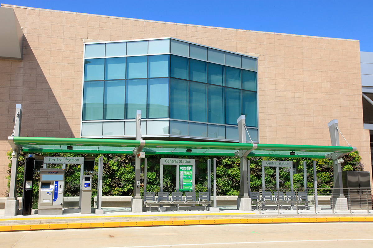 The Rapid Central Station in Grand Rapids, Michigan has a living wall.