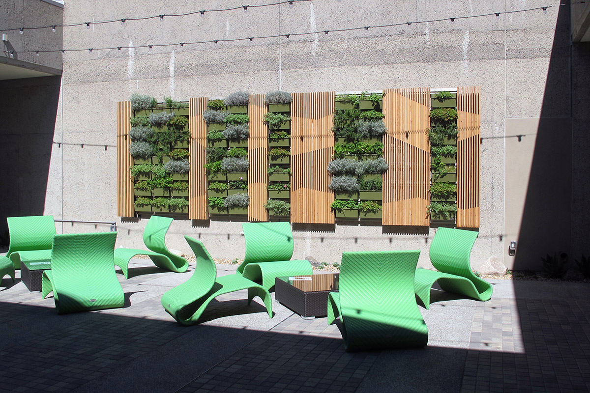 Green walls make the student area more inviting.