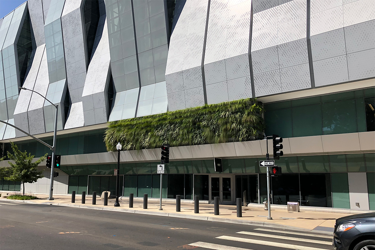 Green wall at Golden 1 Center Arena in Sacramento, California.