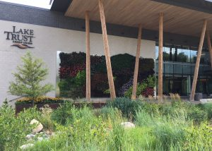 Lake Trust Credit Union outdoor living wall installation in Brighton, Michigan.