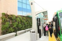 The Rapid's Silver Line stop at Central Station is next to a LiveWall installation.