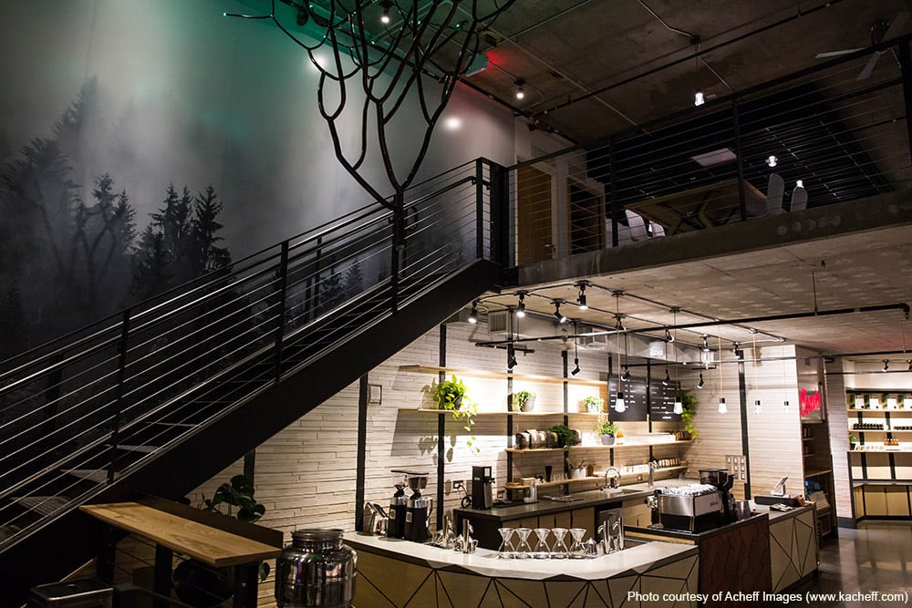 Coava Coffee's introduction of a living wall helped liven the space.