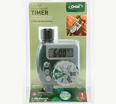 A hose timer may be used on outdoor walls up to 64 square feet.