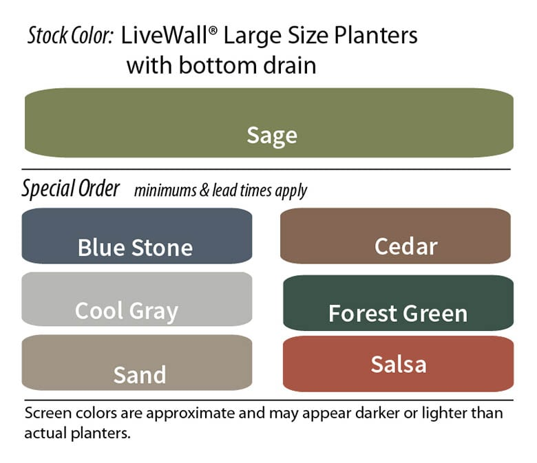 Color Options for LiveWall Large Planters (WallTers) with Bottom Drain
