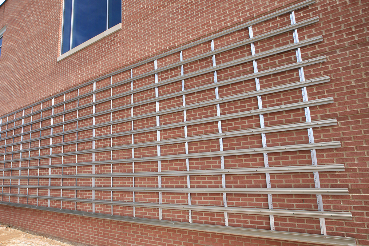 LiveWall structural furring strips, slot rails and RainRail mounting rails/irrigation conduits.