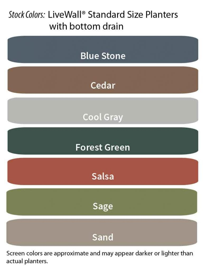 Color Options for LiveWall Large Planters (WallTers) with Rear Drain