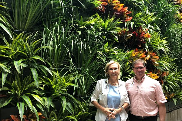 Indoor Green Wall in the Orlando Public Library, with CEO Mary Ann Hodel and COO Steve Powell