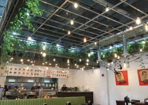 Living wall at Brome is featured on the ceiling.