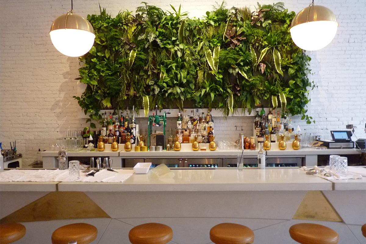Harless Eatery green wall