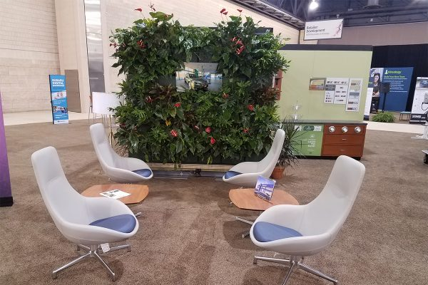 Customer lounge with indoor living wall installation.