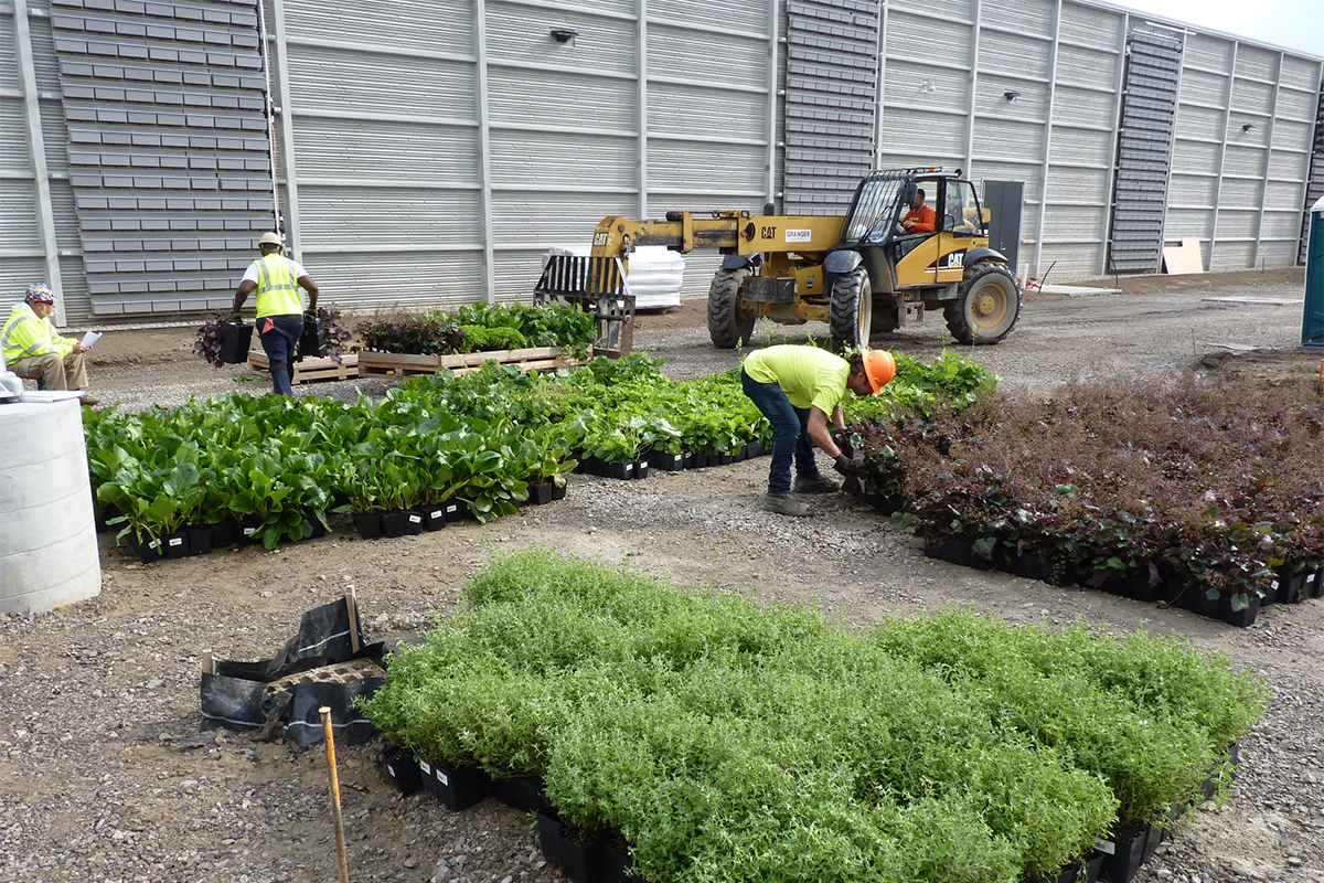 Planted inserts staged for installation on a large data center.