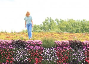 Woman looks down from green roof onto living wall planted below.