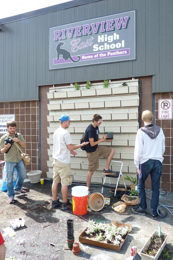 Detroit area high school students planting green walls.