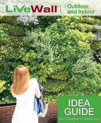 Cover of the LiveWall Idea Guide shows a woman in a white dress standing in front of a vibrant green wall.