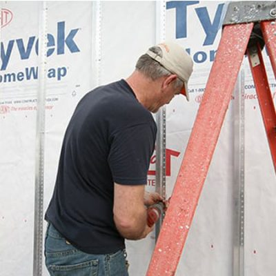 A contractor-sourced breathable barrier system such as Tyvek Commercial Wrap D suitable for many LiveWall outdoor projects.