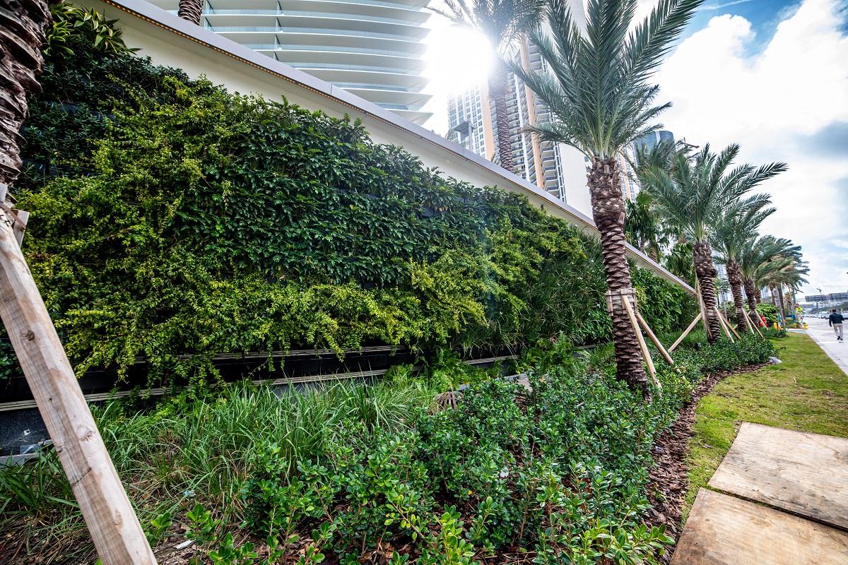 Green wall at Armani Casa in Miami