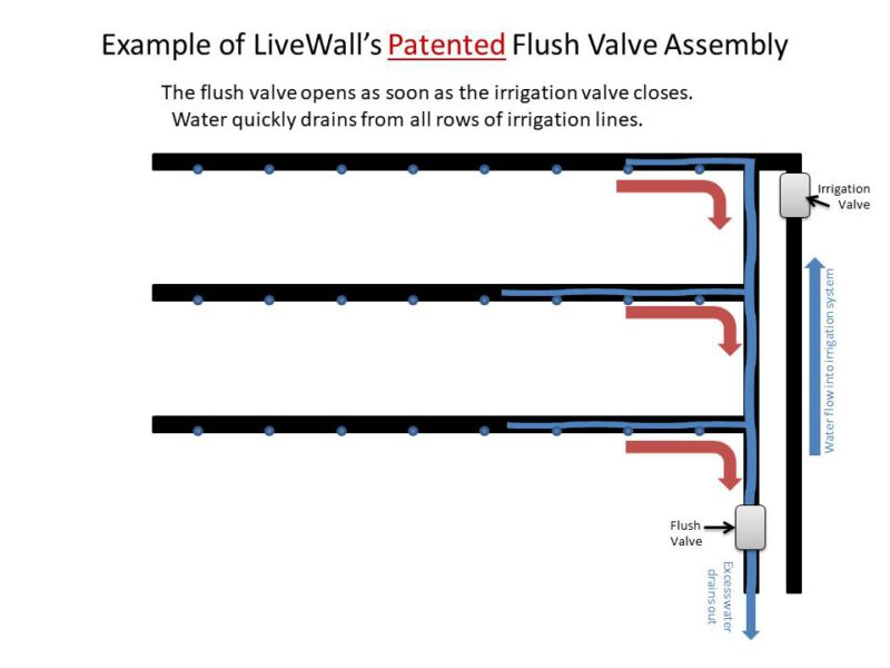GREEN WALL PATENTED LIVEWALL LIVING WALL STRUCTURE FLUSH VALVE IRRIGATION ASSEMBLY